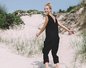 6d406f67240 Linen jumpsuit   Loose linen Jumpsuit   Linen overall   Linen women romper    Linen clothes   Black jumpsuit. Linenfox