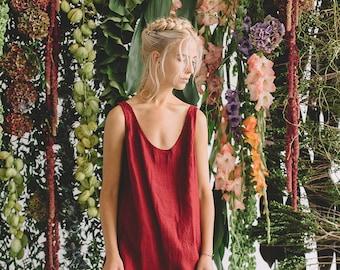Linen dress/ Summer dress/ Simple linen dress/ Tank top dress/ Loose linen dress/ Linen tunic/ #10D Monstera