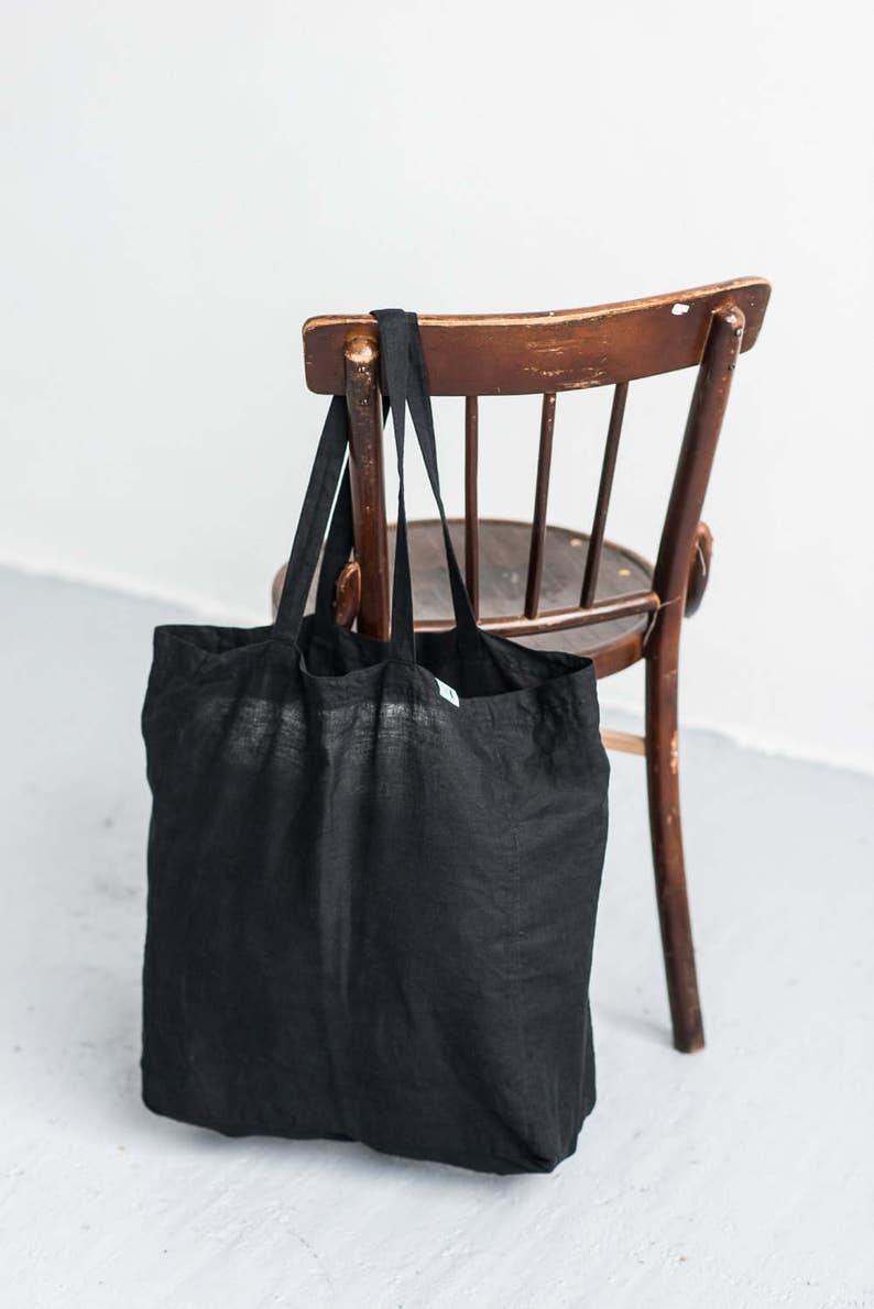 04368693c8c6c Leinentasche schwarzen Tragetasche Leinen-Markt-Tasche