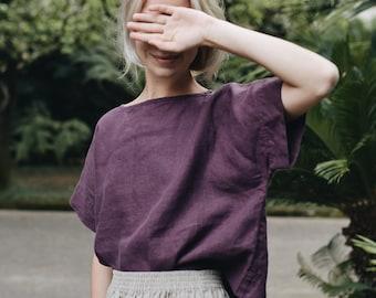 Mona eggplant violet top - Linen top - Oversized linen top - Linen blouse - Basic linen top -  Minimal linen blouse