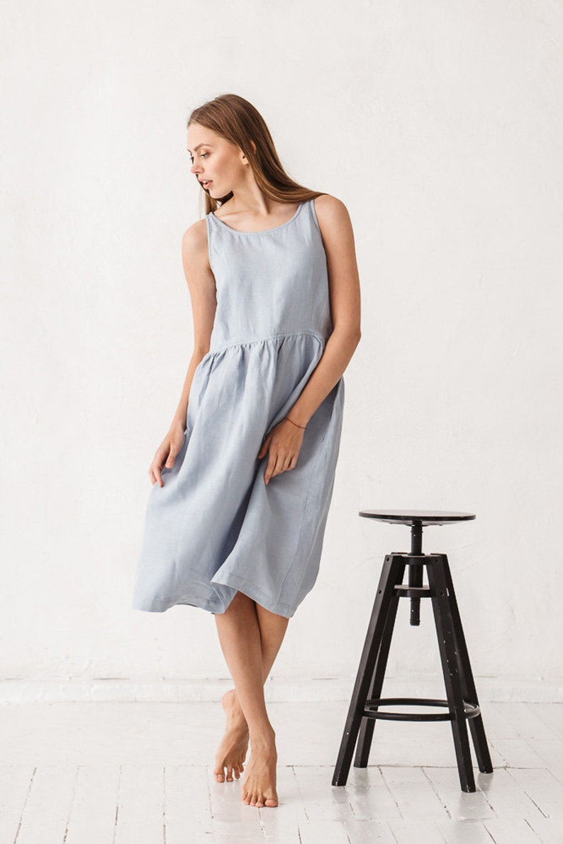 Dana dress / Linen dress /  Dusty blue linen dress from Linenfox on Etsy. #linendress #dresses #summerdress #handmadedress #fashion