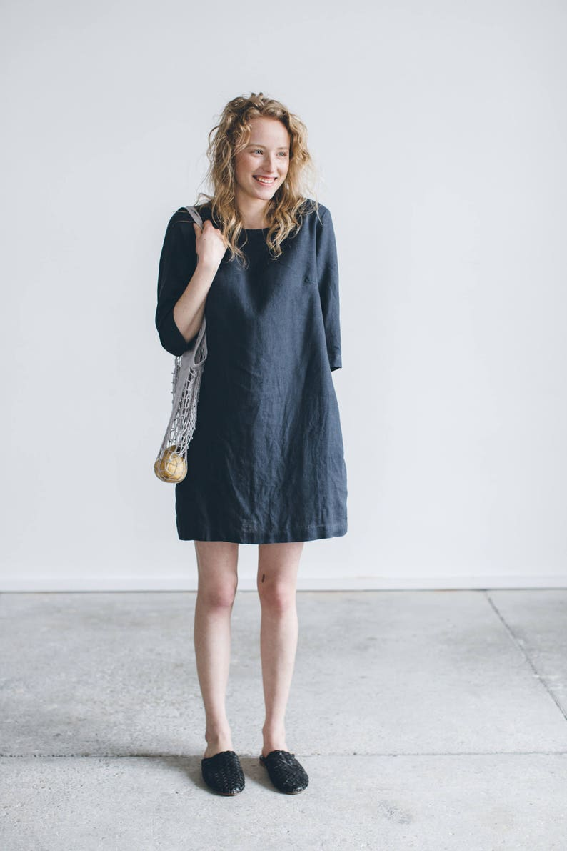 Shift dress/ Linen simple dress/ Basic linen dress/ Loose image 0