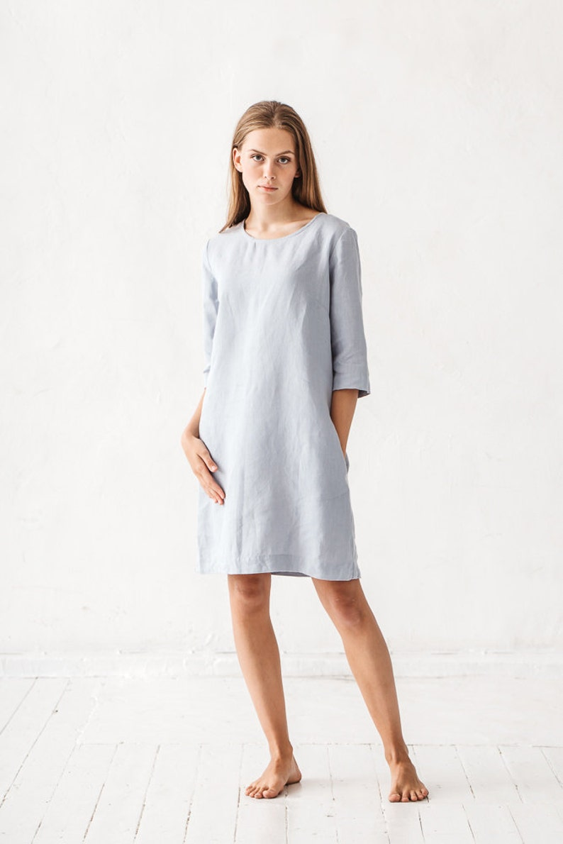 Blue linen shift dress from LinenFox.  Interior Design Inspiration Timeless Favorites in May: a round-up of beautiful design ideas and decorating resources as well as timeless tranquil inspiring interiors.