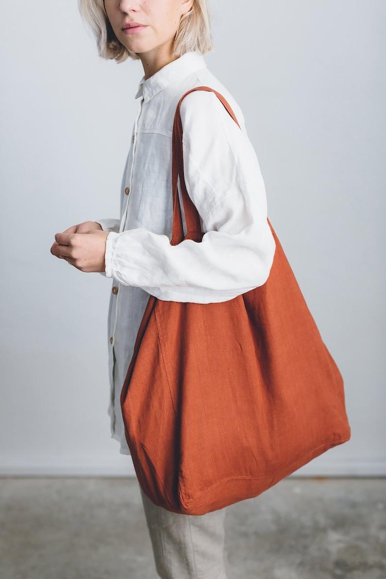 Linen tote bag/ big linen tote bag/ large market bag/ linen image 0