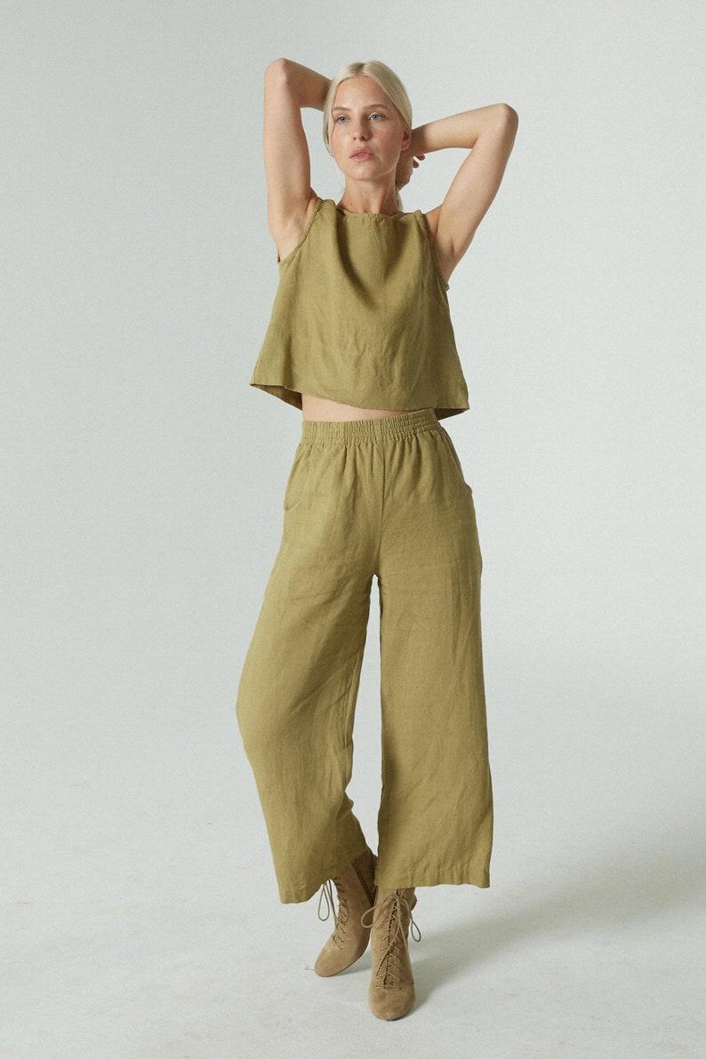 Linen crop top Basic linen top Linen tank top Linen blouse Soft linen clothing Washed linen top
