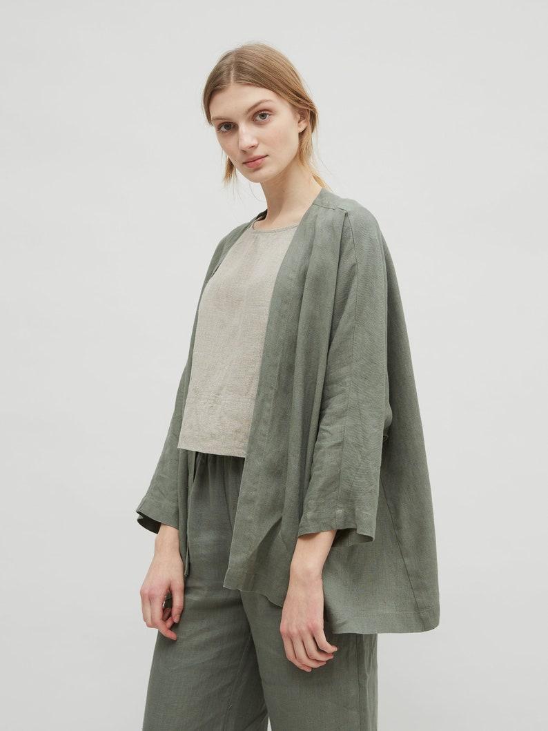 5990e5b3cdd473 Linen jacket / Linen kimono jacket / Oversized linen kimono / | Etsy