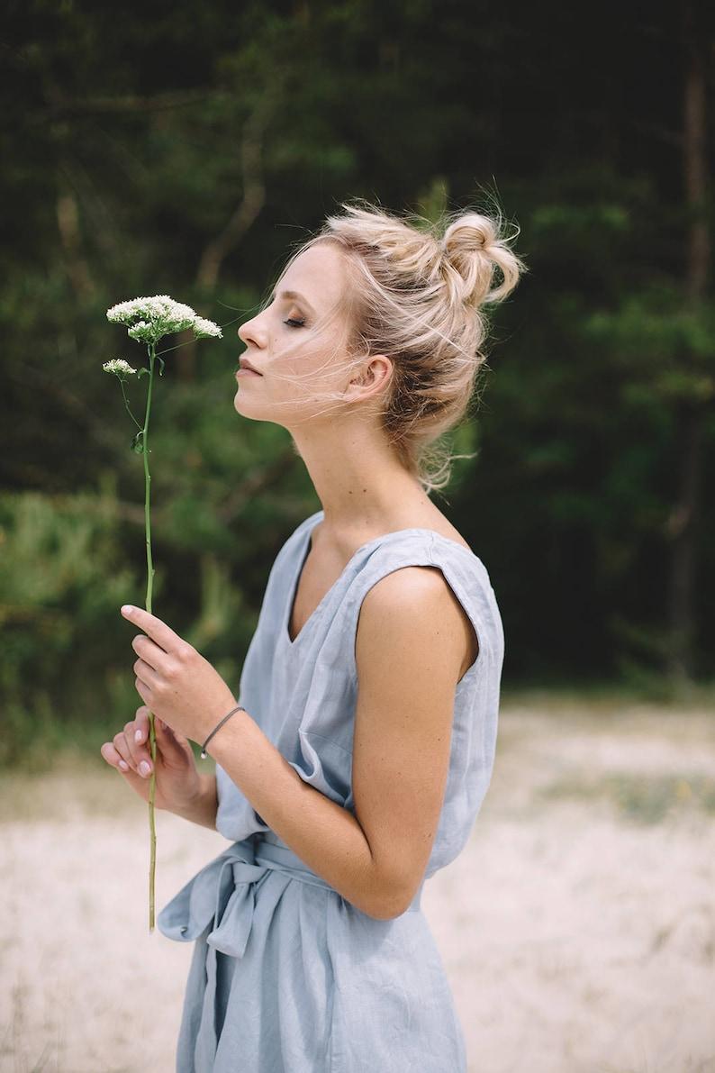 Dori dress / Summer linen dress / V neck linen dress / Summer image 3