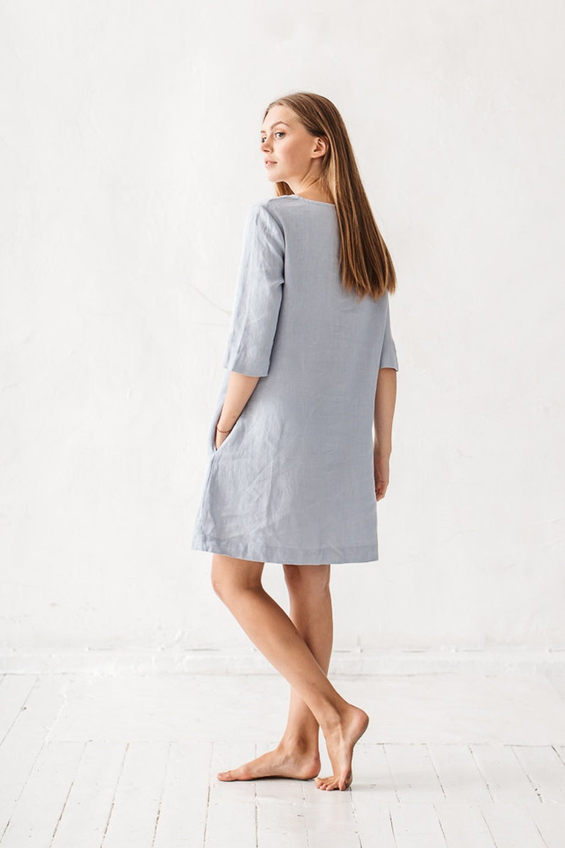 f8e9bf92216 Shift dress  Linen simple dress  Basic linen dress  Loose