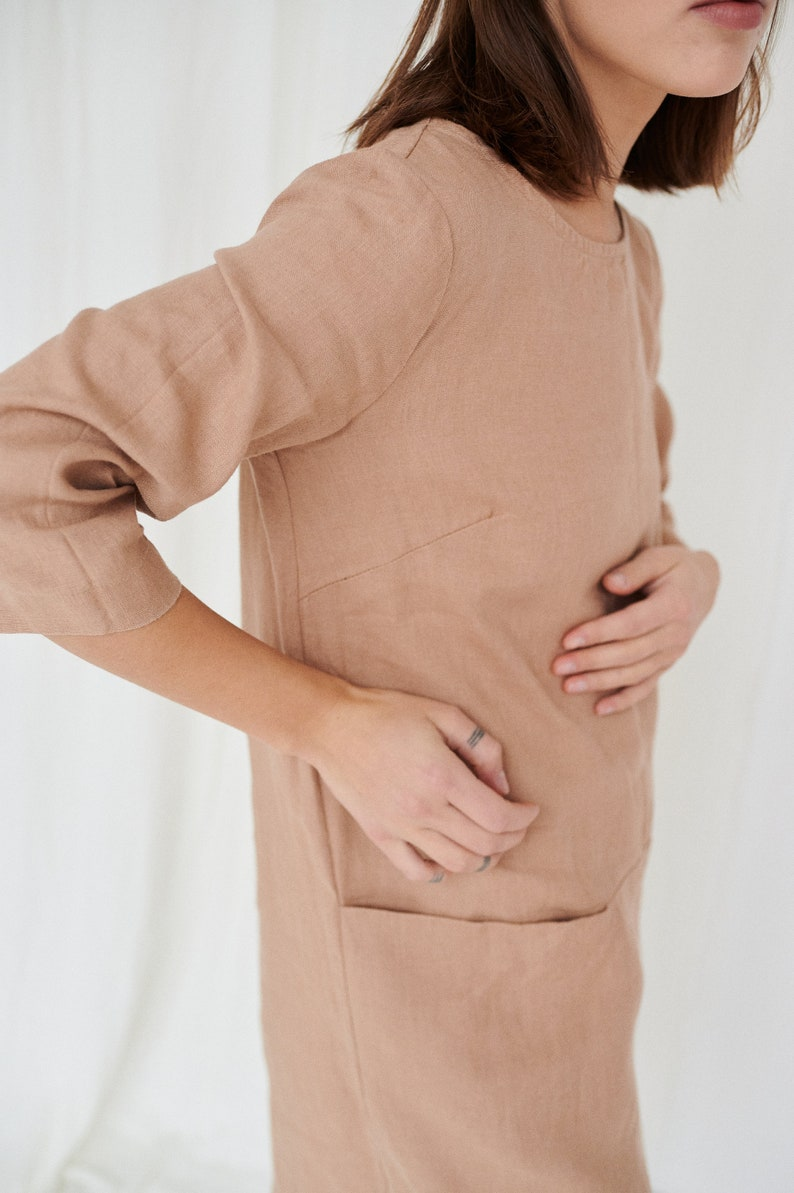 Rose dress  Linen dress  Minimal linen dress  Linen tunic  image 1