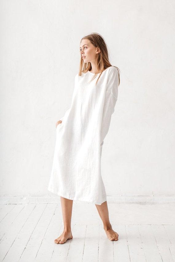 Nieuw Linnen jurk melkachtig witte linnen jurk lange linnen jurk | Etsy KN-06