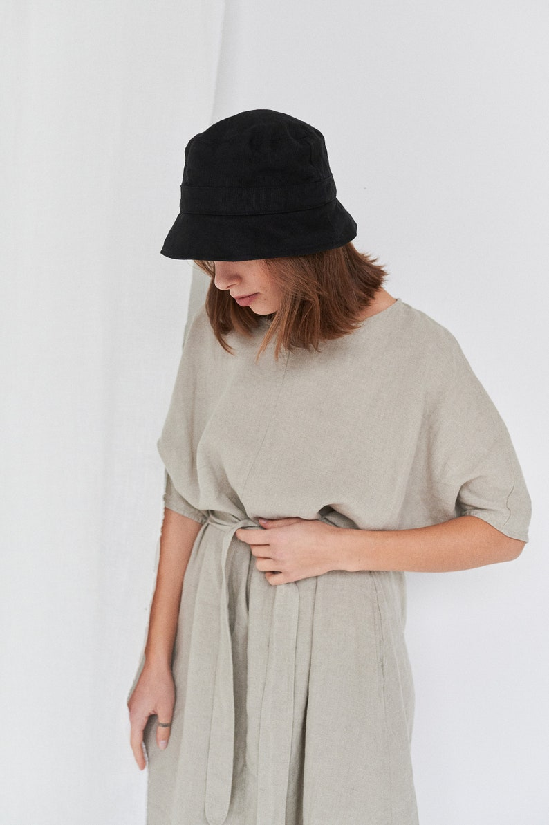 Heavy linen hat Bucket hat Linen bucket hat Summer linen hat