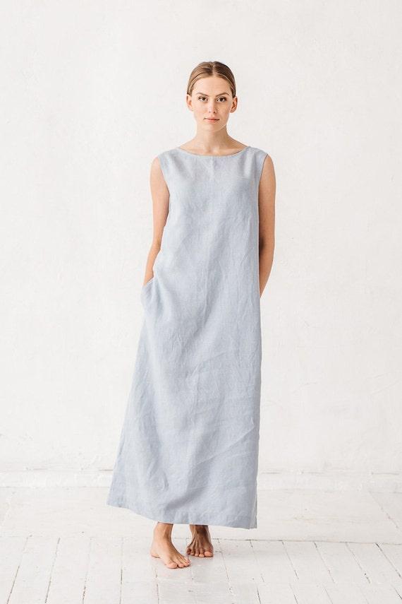 ae199be933 Linen dress Dusty blue linen dress Dress with pockets Long