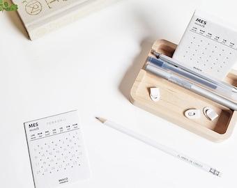 BASIC CALENDAR   Letterpress perpetual calendar, Minimalist desk calendar, Hand-printed calendar + large maple wooden base, Monthly calendar
