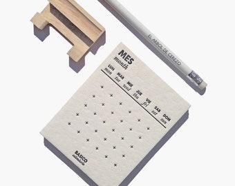 BASICO CALENDAR   Letterpress perpetual calendar, Minimalist desk calendar, Handprinted calendar + small wooden base, Monthly desk calendar