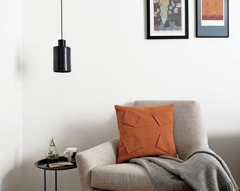 "ORU PILLOW   Origami pillow cover, rust color, 18x18""/ 3D pattern design, geometric, color block / Hygge, home decor, Decorative pillow"