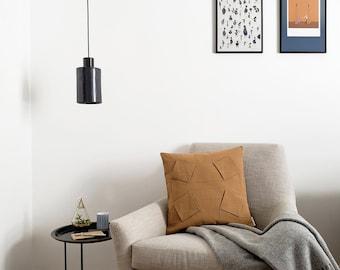 "ORU PILLOW   Origami pillow cover, ochre, 18x18""/ Handmade 3D pattern, geometric design, color block / Hygge home decor, Decorative pillow"