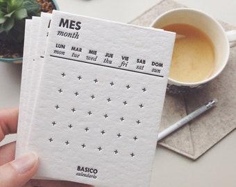 BASIC CALENDAR | Perpetual letterpress calendar / Minimalist desk calendar. Hand printed card calendar, Monthly calendar / Only Refill cards