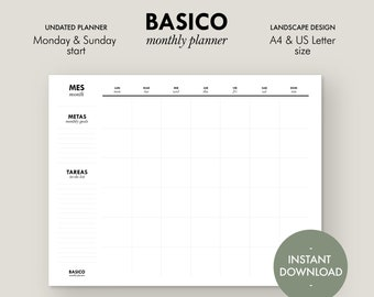 BASICO monthly planner   Undated Monthly Planner Printable Set, Monday & Sunday start, Landscape A4 and Letter size, Instant download PDF