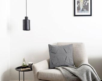 "ORU PILLOW   Origami pillow cover, gray color, 18x18""/ 3D pattern design, geometric design, color block/ Hygge home decor, Decorative pillow"