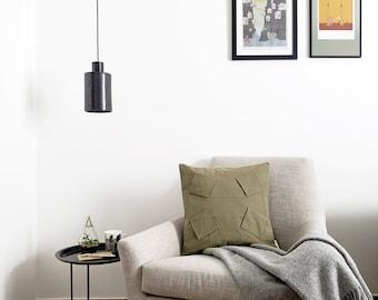 "ORU PILLOW | Origami pillow cover, olive green color, 18x18""/ 3D pattern design, geometric, color block/ Hygge home decor, Decorative pillow"