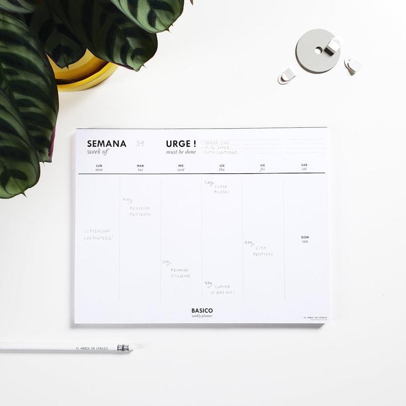 BASICO WEEKLY PLANNER  Weekly desk planner Minimal desk image 0