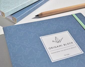 ORIGAMI BLOCK   Original notebook: Transform your notes & sketches into paper cranes / Origami notepad, blue cover with elastic closure.