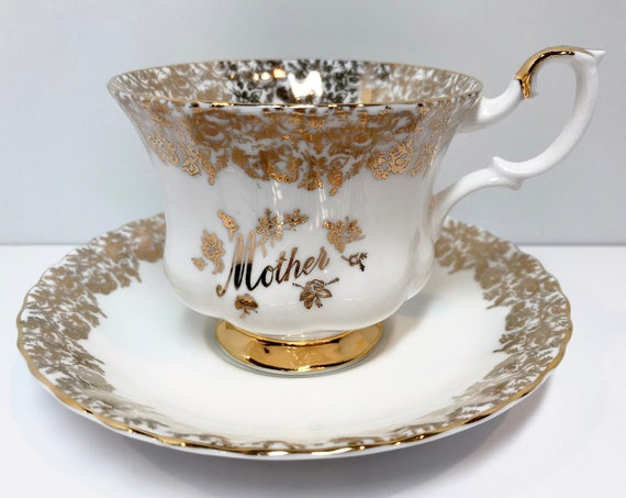 Mother by Royal Albert Tea Cup and Saucer, Antique Tea Cups Vintage, English Bone China Cups, Gold Cups, Mothers Day Tea Cup