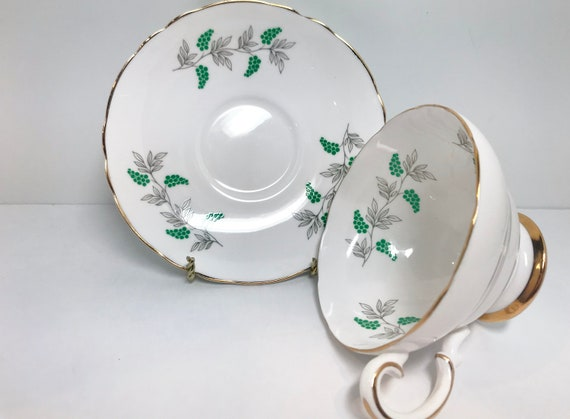 Crown Staffordshire Tea Cup and Saucer, Staffordshire Teacup, Green White Teacup, Teatime Teacups, Vintage Tea Cups