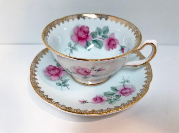 Pale Blue Royal Grafton Teacup and Saucer, Antique Teacups Vintage, Floral Tea Cups, Pink Rose Teacups, Teatime