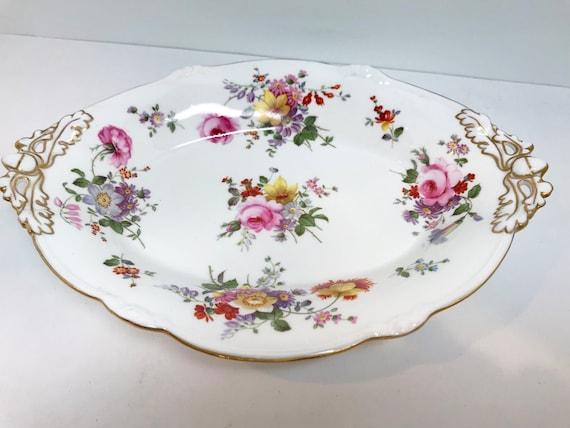Derby Posies Basket, Royal Crown Derby, Floral Dish, Antique Plates Vintage, Antique Oval Dish, c.1925