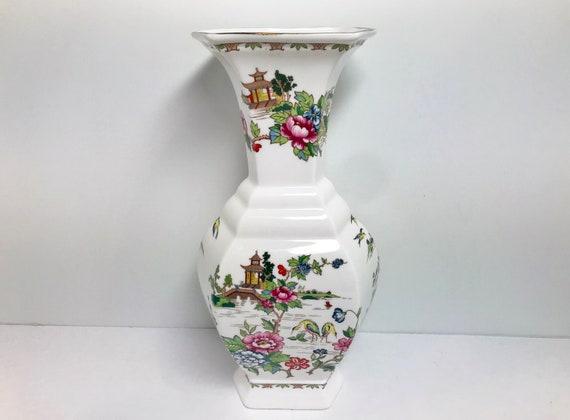 Crown Staffordshire Vase, Pagoda Pattern, White Vase, China Vase, Porcelain Vase, Hand Painted Vase