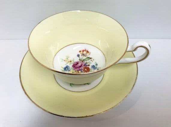 Rosina Teacup and Saucer, Yellow Tea Cups, Vintage Teacup, English Bone China Cup, Antique Teacups, Vintage Tea Cups, Floral Tea Cups