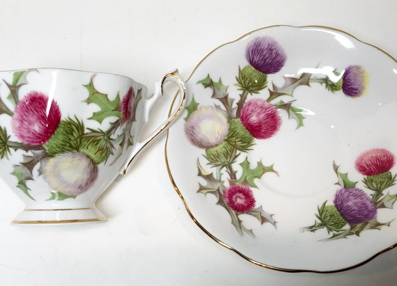 Dundee Thistle Tea Cup and Saucer, Queen Anne Teacup, Scottish Teacups, Antique Teacups, Vintage Tea Cups, Thistle Cups, Scotland Teacup