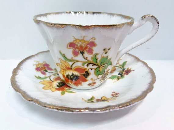 Gladstone Tea Cup and Saucer, Floral Tea Cups, English Bone China Cups,  AntiqueTea Cups Vintage, Antique Teacups Vintage, Made in England