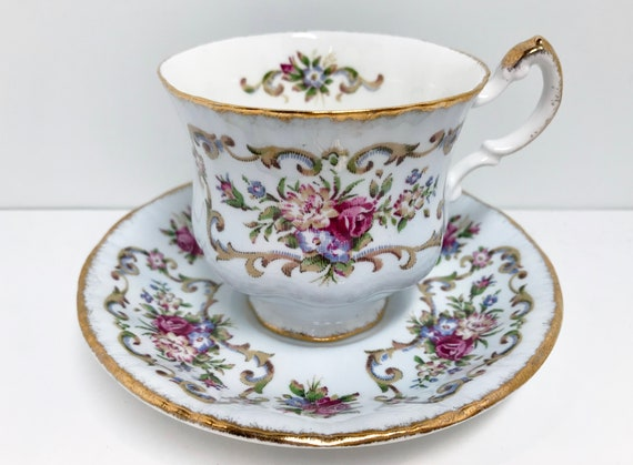 Pale Blue Paragon Teacup and Saucer,  Antique Series, Georgian Pattern, Vintage Teacups, Teatime Teacups, Vintage Tea Cups