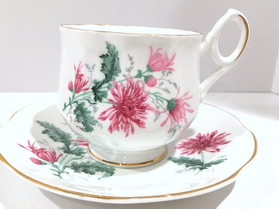 Chrysanthemum Tea Cup, Royal Dover Tea Cup and Saucer, English Bone China Cups, Antique Teacups, Vintage Tea Party