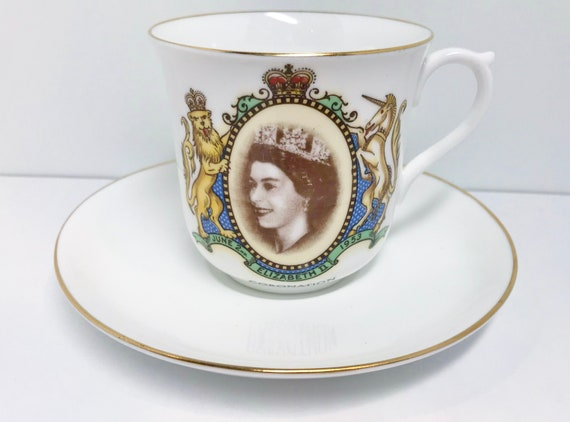 Queen Elizabeth Shelley Teacup and Saucer, Bristol Shape, Shelley China, Shelley Tea Cup, Royalty Tea Cup, ER II Teacup, Vintage Shelley
