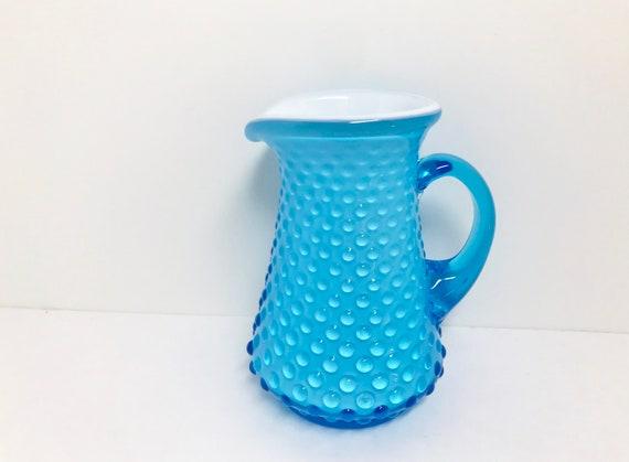 Aqua Fenton Pitcher, Fenton Hobnail Pitcher, Glass Pitcher, Aqua Vintage Glass, Fenton Creamer, Aqua Hobnail Pitcher, Aqua White Hobnail