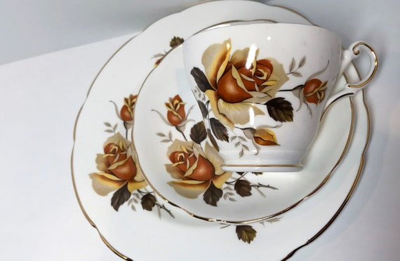 Yellow Rose Trio, Regency Teacup and Saucer and Plate, Floral Teacups Vintage, Antique Tea Cups, Floral Tea Cups, Yellow Rose Cups