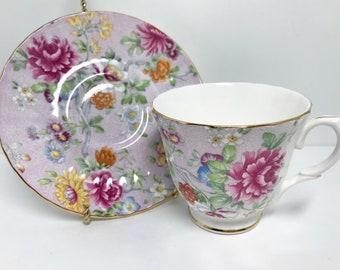 Lilac Garden Duchess Tea Cup and Saucer, English Bone China, Floral Teacups, Antique Teacups Vintage, Antique Tea Cups Vintage