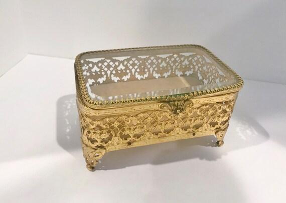 Brass Jewelry Box, Floral Jewelry Box, Ormolu Box, Glass and Brass Box, Jewelry Container, Beveled Glass Brass Box