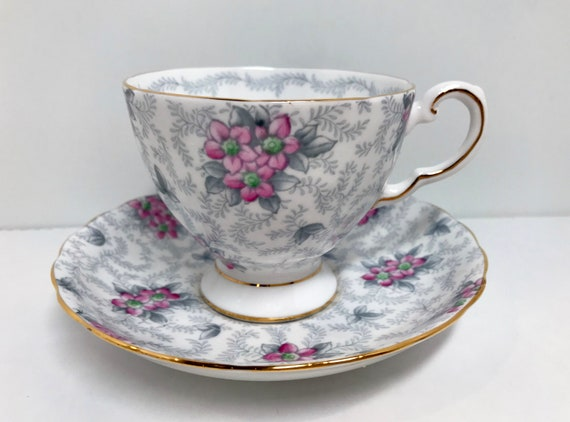 Hand Painted Pink Flowers Tuscan Tea Cup and Saucer, Antique Teacups Vintage, Gray Tea Cups, Lacy Gray Tea Cup, Aprils Luxuries