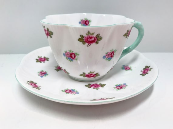 Shelley Rosebud Teacup and Saucer, Shelley Teacups, Floral Tea Cups, English China Tea Cups, Shelley China, Antique Tea Cups, Vintage Cups