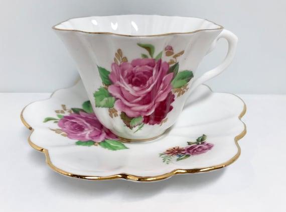 Crown Teacup and Saucer, Rose Tea Cups, Vintage Teacups, English Tea Cups, English Bone China Cups, Floral Tea Cups, Floral Teacups