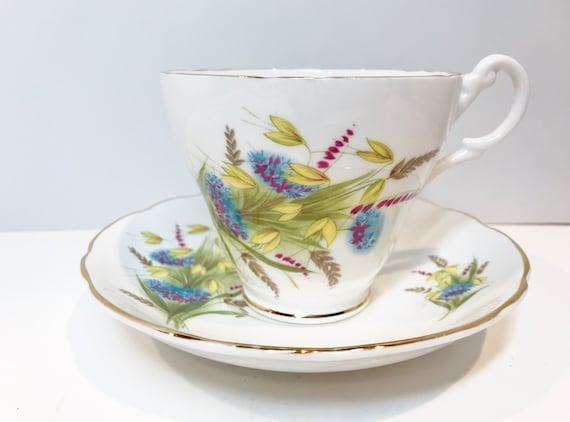 Mid Century Royal Ascot Tea Cup and Saucer, Vintage Tea Party, Antique Teacups, Floral Tea Cups, English Bone China Cups, Vintage Tea Cups