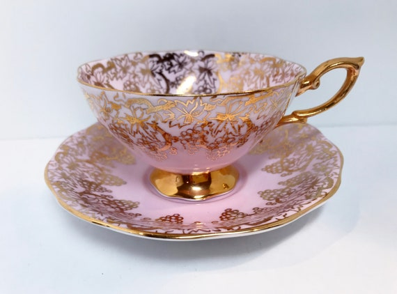 Royal Standard Tea Cup and Saucer, Pink Gold Cups, Antique Teacups, English Bone China Cups, Tea Cups Vintage, Made in England, Gift for Her