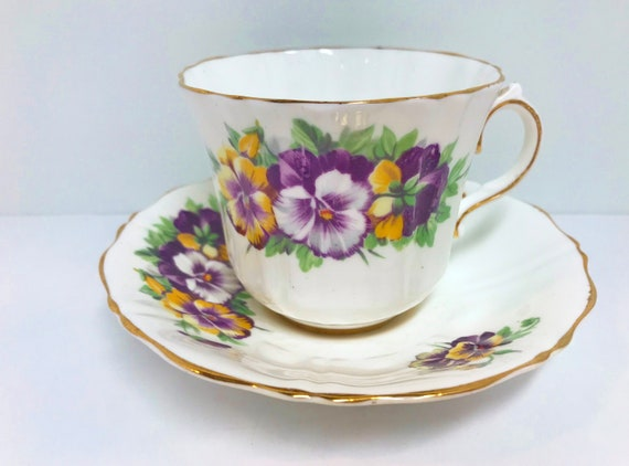Pansies by Old Royal Bone China, Floral Teacups, English Bone China Cups, Antique Teacups Vintage, Friendship Cups