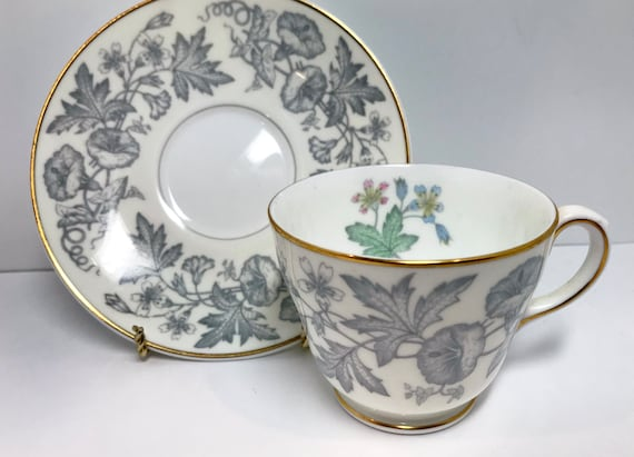 Wedgwood Teacup and Saucer, Wildflower Pattern, Wedgwood Wildflower, Vintage Tea Cups, Vintage Teacups, Wedgwood Tea Cups
