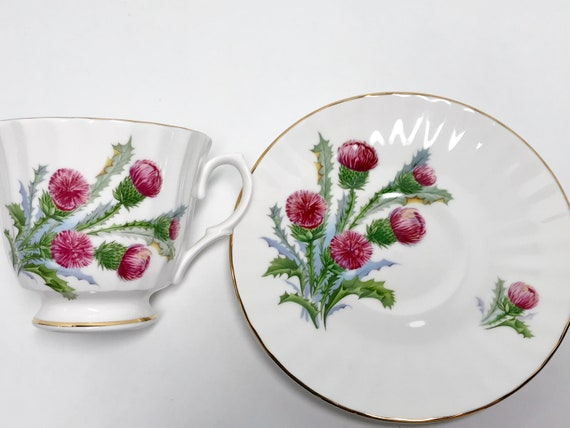 Highland Thistle by Hampshire Hall, Scottish Tea Cup and Saucer, Scottish Teacups, Antique Tea Cups, Housewarming Gift, English China Cups