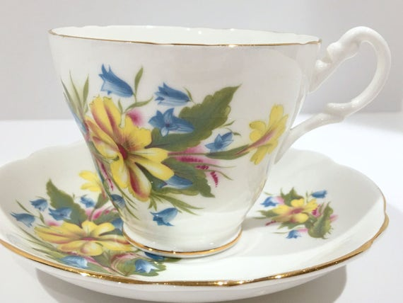 Royal Ascot Tea Cup and Saucer, Yellow Flower Cups, English Bone China  Cups, Antique Tea Cups, Tea Cups Vintage, English Teacups